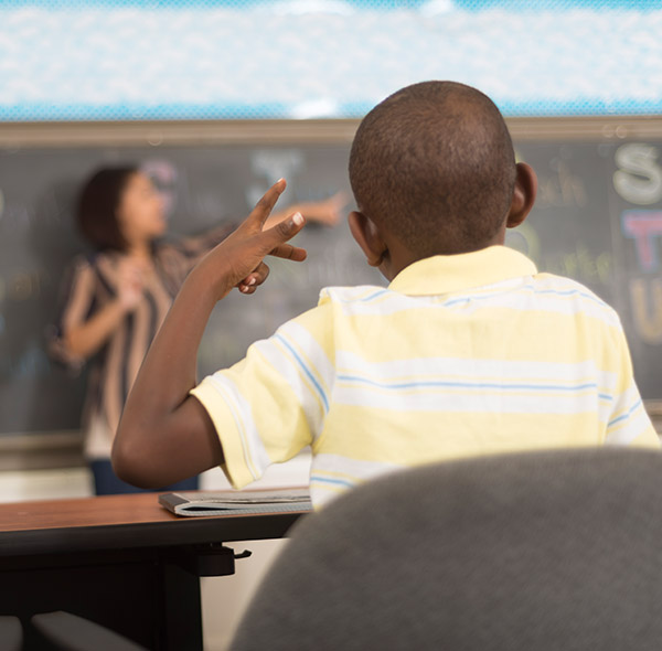 Deaf child in a classroom